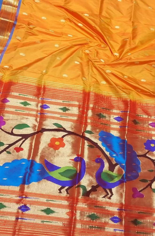 Orange Handloom Paithani Pure Silk Peacock And Flower Design Pallu Saree - Luxurionworld