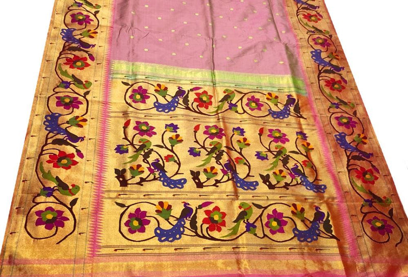 Pink Handloom Paithani Pure Silk Lotus Design Pallu Saree