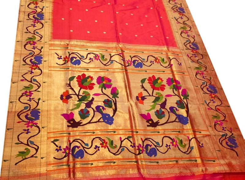 Pink Handloom Paithani Pure Silk Peacock and Flower Design Pallu Saree With Double Muniya Border