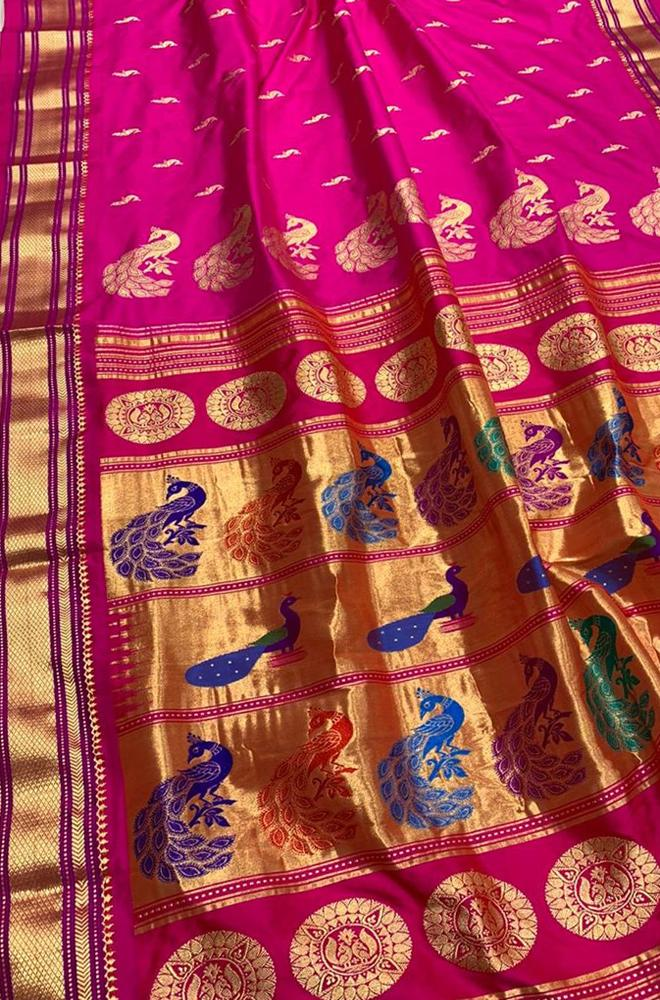 Pink Handloom Paithani Pure Silk Peacock Design Pallu Saree