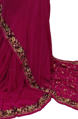 Pink Hand Embroidered Parsi Gara Crepe Saree With Multicolor Thread Work Border