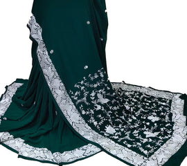 Green Hand Embroidered Parsi Gara Crepe Saree With White Thread Work Border - Luxurionworld