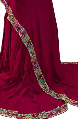 Pink Hand Embroidered Parsi Gara Tussar Silk Saree With Multicolor Thread Work Border