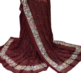 Maroon Hand Embroidered Parsi Gara Georgette Multicolor Thread Work Saree - Luxurionworld