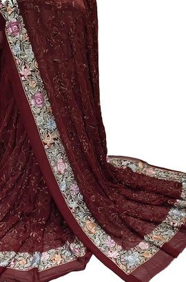 Maroon Hand Embroidered Parsi Gara Georgette Multicolor Thread Work Saree