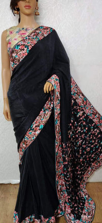 LWPS1P2SA2071401_Black_Hand_Embroidered_Parsi_Gara_Pure_Crepe_Multicolor_Thread_Work_Floral_Design_Saree_1