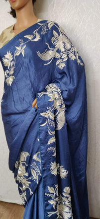 Blue Hand Embroidered Parsi Gara Pure Satin Silk Thread Work Floral Design Saree