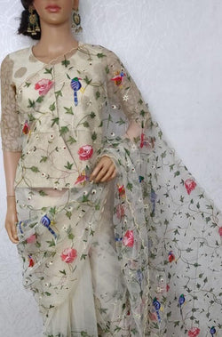 Off White Embroidered Parsi Convent Work Net Saree