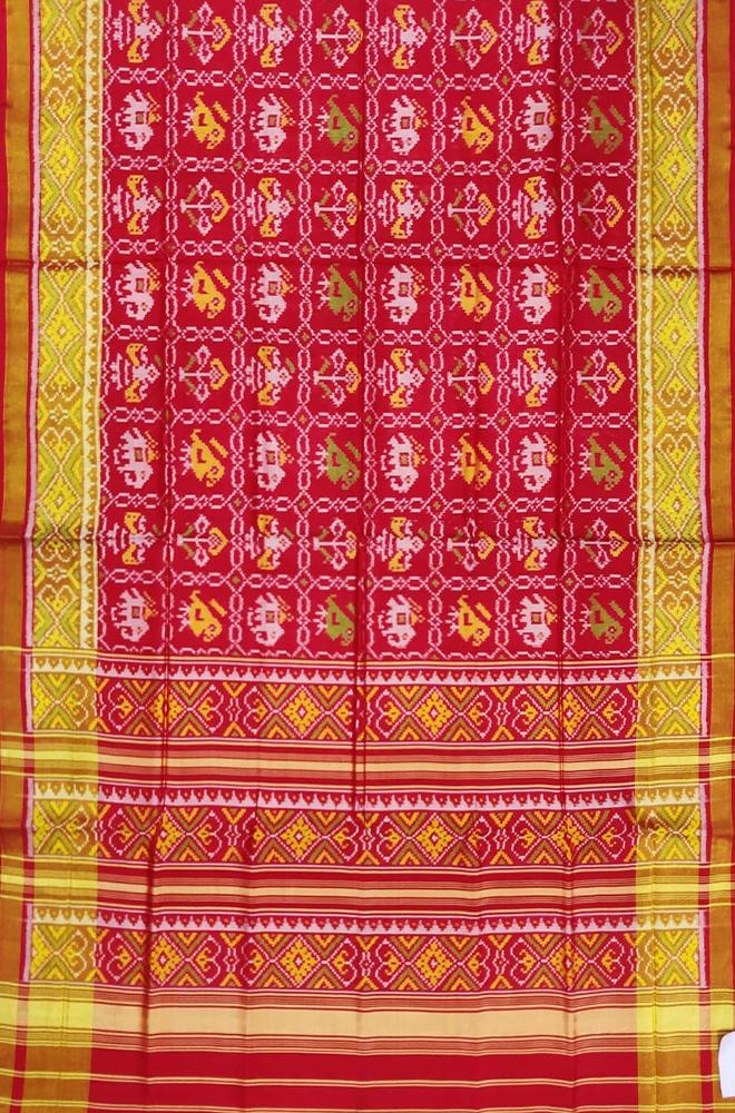 Red Handloom Single Ikat Patola Pure Silk Saree