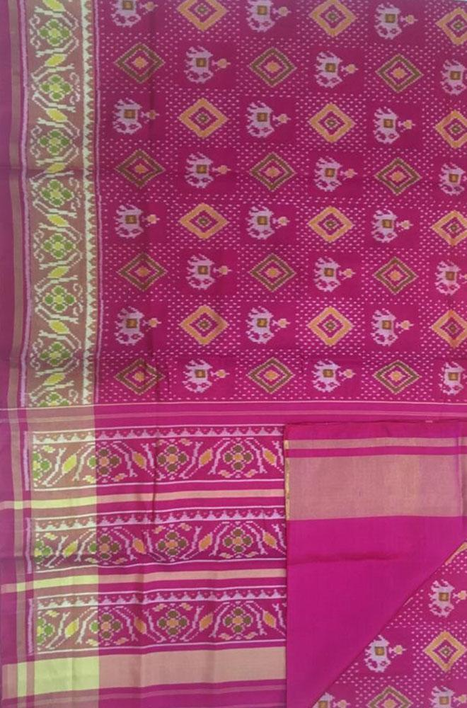 Pink Handloom Single Ikat Patola Pure Silk Saree - Luxurionworld