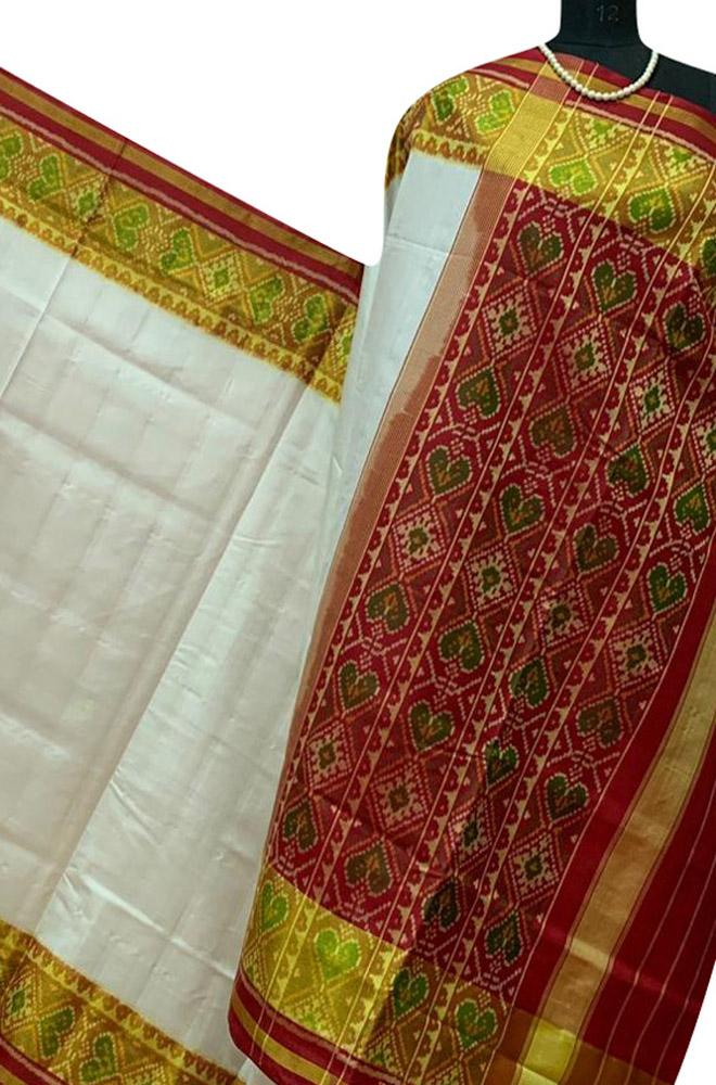 Off White Handloom Rajkot Patola Pure Silk Saree - Luxurionworld