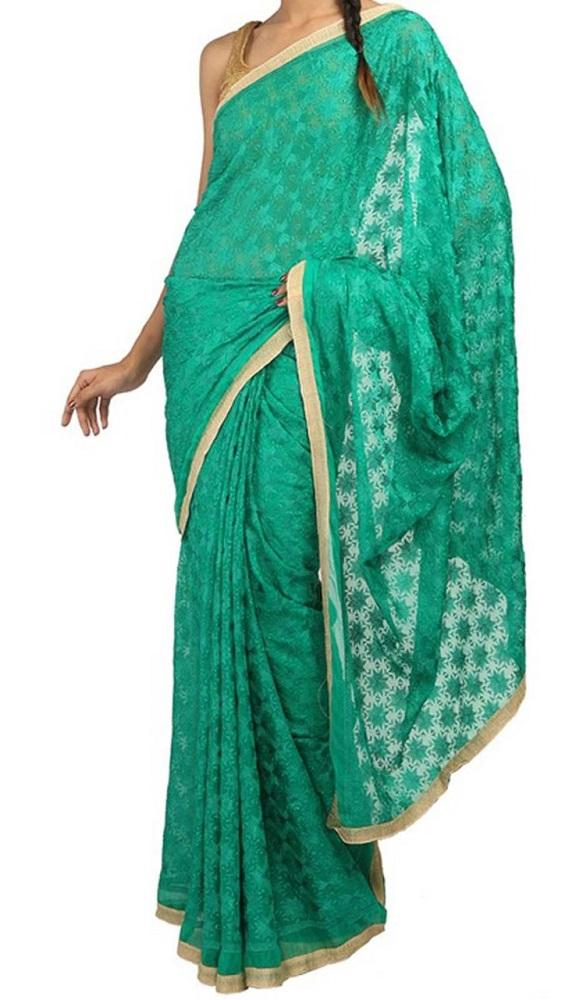 Green_Embroidered_Phulkari_Chinon_Saree