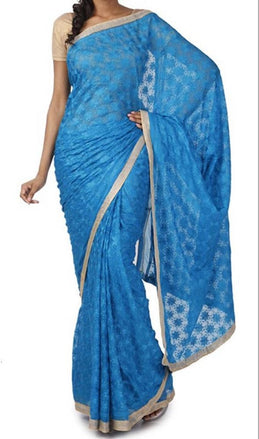 Blue_Embroidered_Phulkari_Chinon_Saree