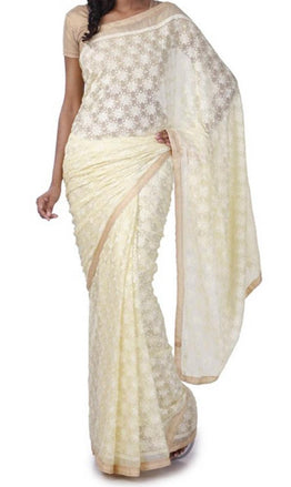 White_Embroidered_Phulkari_Chinon_Saree