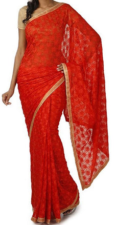 Red_Embroidered_Phulkari_Chinon_Saree