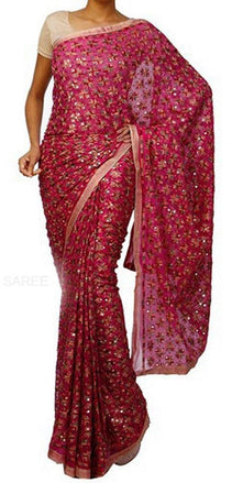 Pink_Embroidered_Phulkari_Chinon_Saree