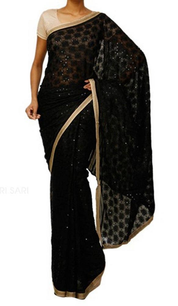 Black_Embroidered_Phulkari_Chinon_Saree