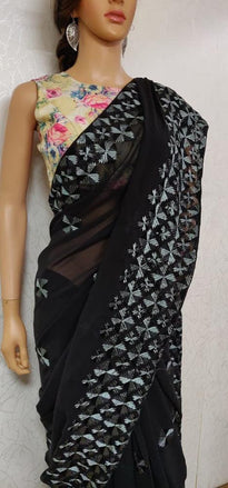 Black  Hand Embroidered Phulkari Georgette Saree - Luxurionworld