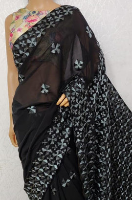 Black  Hand Embroidered Phulkari Georgette Saree