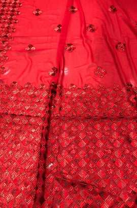 Red Embroidered Phulkari Georgette Saree - Luxurionworld