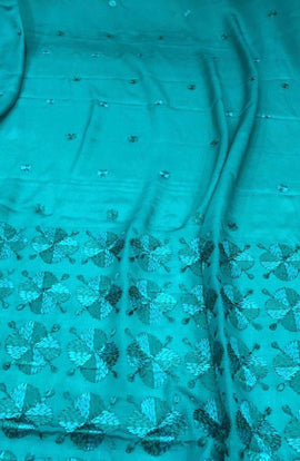 Blue Hand Embroidered Phulkari Pure Chinon Chiffon Saree - Luxurionworld