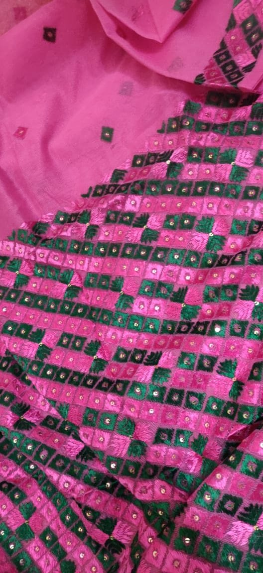 Pink  Embroidered Phulkari Kota Saree - Luxurionworld