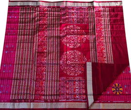 Pink Handloom Sambalpuri Pure Silk Saree - Luxurionworld