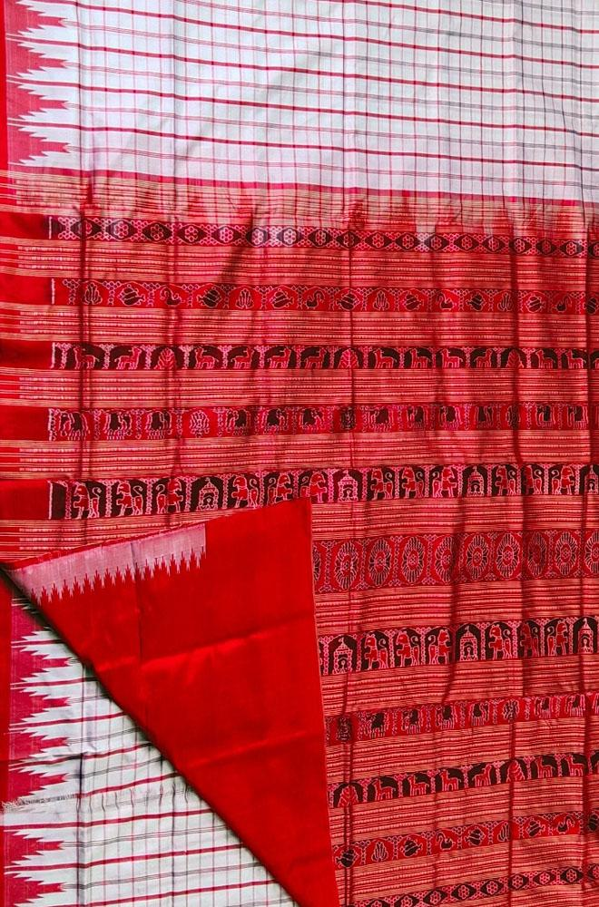 Off White Handloom Sambalpuri Silk Checks Saree - Luxurionworld