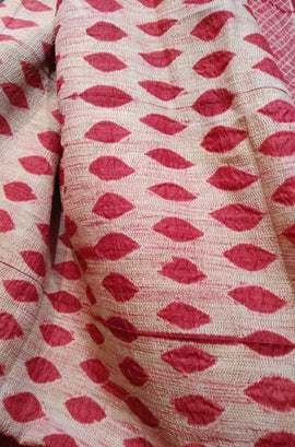 Red Shibori Pure Tussar Silk Saree - Luxurionworld