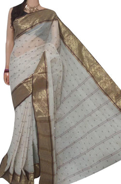 Off White Handloom Tant Pure Cotton Saree - Luxurionworld