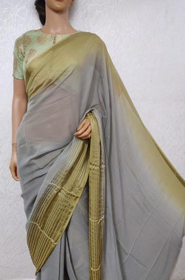 Grey Trendy Pure Georgette Saree
