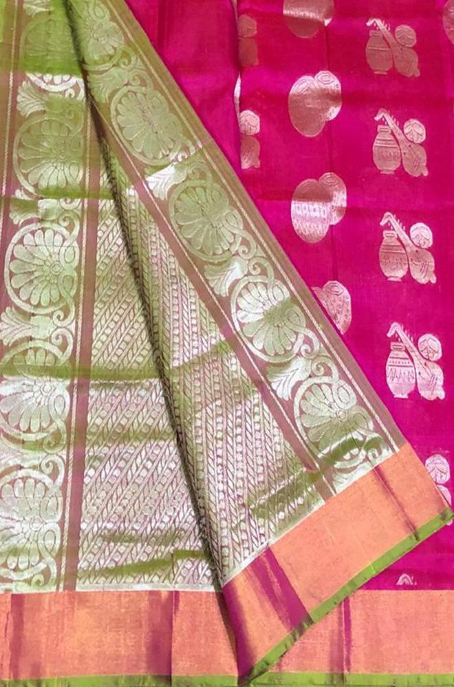 Pink Handloom Uppada Silk Musical Instrument Design Saree