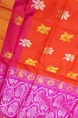 Orange Handloom Uppada Pure Silk Flower Design Saree - Luxurionworld