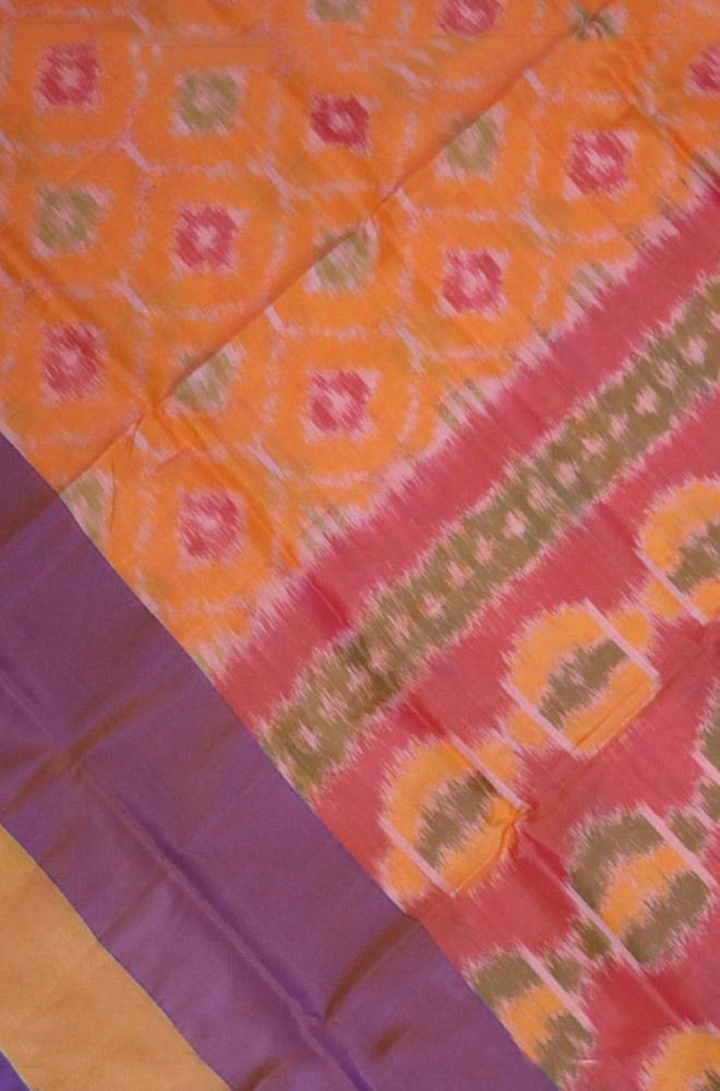 Orange Handloom Uppada Soft Silk Pochampally Design Saree - Luxurionworld