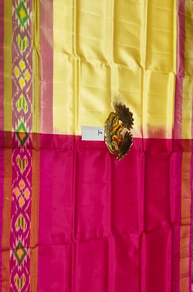 Yellow Handloom Uppada Soft Silk Pochampally Border Saree