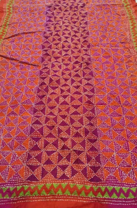 Multicolor Hand Embroidered Kantha Tussar Silk Stole