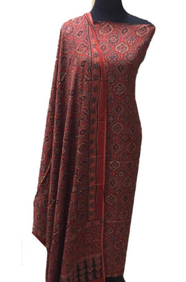 Red Ajrakh Hand Block Printed Modal Silk 2 Piece Unstitched Suit Set