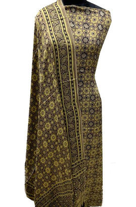 Yellow Ajrakh Hand Block Printed Modal Silk 2 Piece Unstitched Suit Set