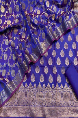 Blue Handloom Banarasi Dupion Silk Three Piece Unstitched Suit Set - Luxurionworld