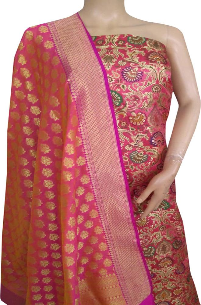 Pink Handloom Banarasi Silk Flower Design Meenakari Unstitched Suit Set Fabric - Luxurionworld