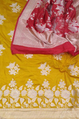 Yellow and Red Handloom Banarasi Pure Katan Silk Sona Roopa Unstitched Suit Set - Luxurionworld