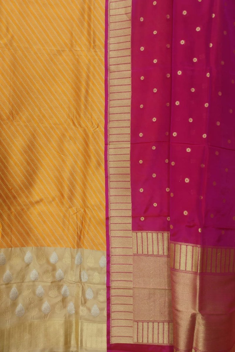Yellow And Pink Handloom Banarasi Pure Katan Silk Unstitched Suit Set