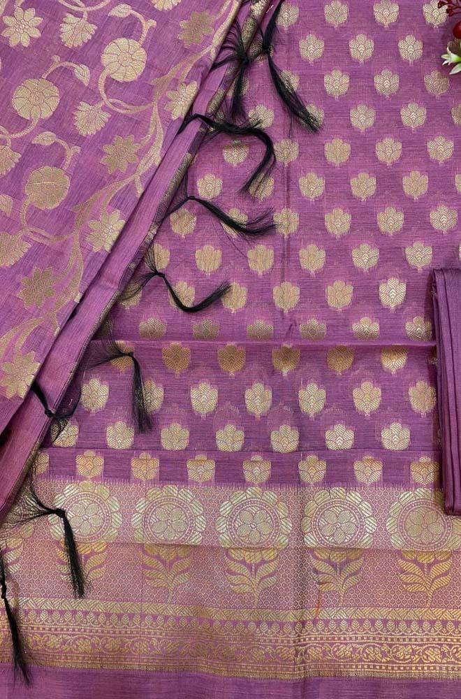 Purple  Banarasi Silk Three Piece Unstitched Suit Set