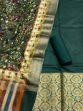 Green Handloom Banarasi Chanderi Silk 3 Piece Unstitched Suit Set