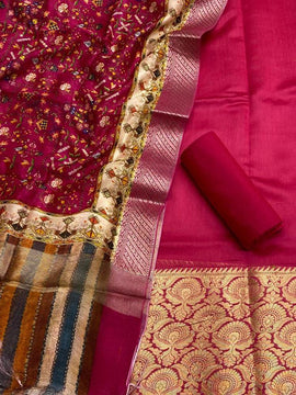 Pink Handloom Banarasi Chanderi Silk 3 Piece Unstitched Suit Set