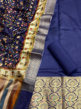 Blue Handloom Banarasi Chanderi Silk 3 Piece Unstitched Suit Set