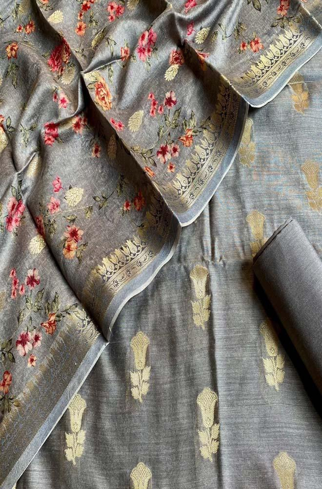 Grey Handloom Banarasi Moonga Silk Three Piece Unstitched Suit Set