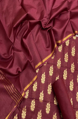 Maroon Handloom Banarasi Chanderi Silk Three Piece Unstitched Suit Set