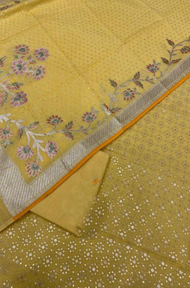 Yellow Handloom Banarasi Chanderi Silk 3 Piece Unstitched Suit Set