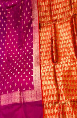 Orange And Pink Handloom Banarasi Pure Katan Silk Unstitched Suit Set - Luxurionworld